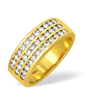 18K Gold Three Row Channel Set Diamond Ring 1.00ct