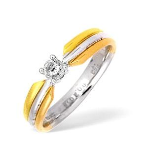 18K Three Tone Diamond Solitaire Ring 0.20CT
