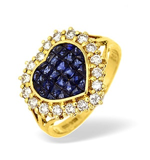 18K Gold Diamond and Sapphire Heart Cluster Ring 0.50CT