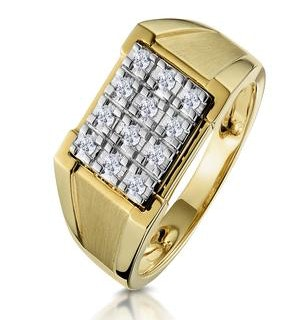 Diamond 0.23ct 9K Yellow Gold Mens Ring