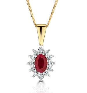 Ruby 6 x 4mm And Diamond 9K Yellow Gold Pendant Necklace