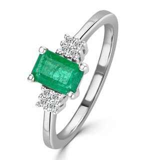 Emerald 6 x 4mm And Diamond 9K White Gold Ring  A3078