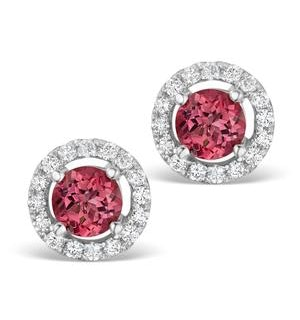 Pink Tourmaline 1CT and Diamond Halo Earrings in 18K White Gold- FG27