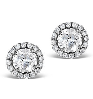 Ella Halo Lab Diamond Earrings set in 18K White Gold 1.34ct H/Si