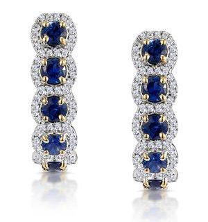 1.50ct Sapphire Diamond Halo Asteria Earrings in 18K Gold