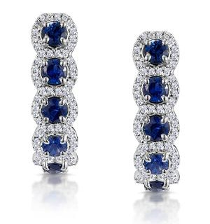 1.50ct Sapphire Diamond Halo Asteria Earrings in 18K White Gold