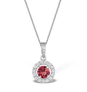 Pink Tourmaline 0.50CT and Diamond Halo Pendant Necklace 18K Gold