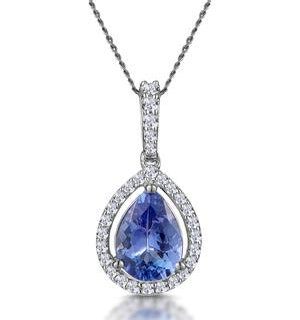 Tanzanite and Diamond Halo Pear Drop Asteria Necklace in 18KW Gold