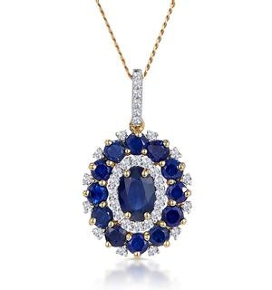 1.40ct Sapphire Asteria Collection Diamond Halo Pendant in 18K Gold