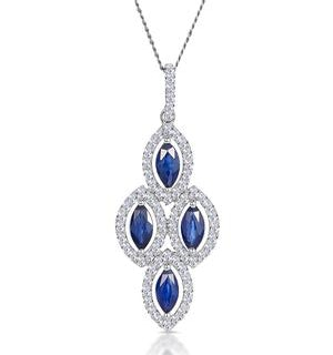 1.20ct Sapphire Asteria Diamond Drop Pendant in 18K White Gold