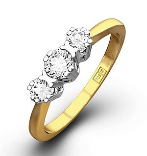 Emily 18K Gold 3 Stone Diamond Ring 0.33CT