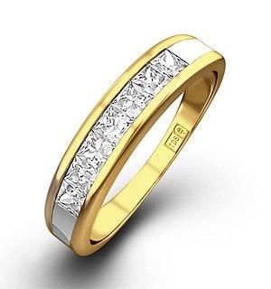 18K Gold Princess Diamond Half Eternity Ring 0.50CT H/SI