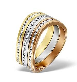 18K Three Tone 6mm Diamond Half Eternity Ring