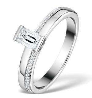 0.57ct Ideal Prince Cut Diamond and 18K White Gold H/SI Ring