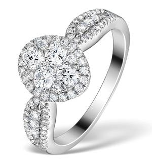 Halo Engagement Ring Galileo 1.08ct H/SI Diamonds in 18KW White Gold