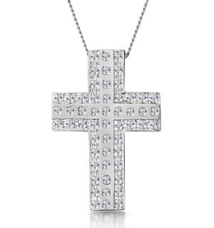 0.45ct Pave and Inlaid Diamond Cross Necklace in 9K White Gold