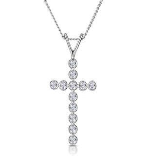 Cross Pendant Necklace 0.12CT Diamond 9K White Gold