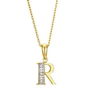 9K Gold Diamond Initial Pendant - Letter 'R'