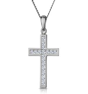Cross Pendant Necklace 0.25CT Diamond in 9K White Gold