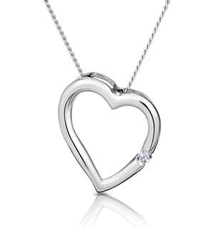 Diamond Heart Pendant Necklace 0.03ct 9K White Gold