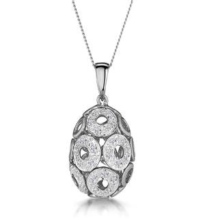 Diamond Pave Circle Design Small Egg Necklace in 9K White Gold