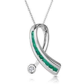 Emerald 0.22CT And Diamond 9K White Gold Ribbon Pendant Necklace