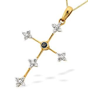 9K Gold Diamond and Sapphire Cross Pendant (D0.20ct S0.05)