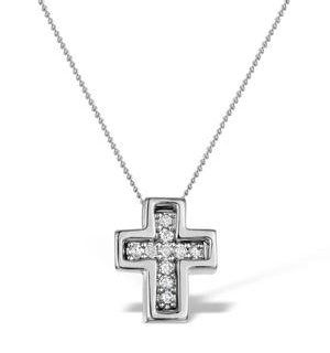 Diamond 0.10ct 9K White Gold Cross Pendant - RTC-G4375Y