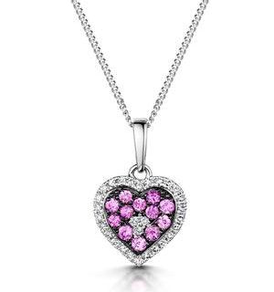 Pink Sapphire Diamond Stellato Heart Pendant Necklace 9K White Gold