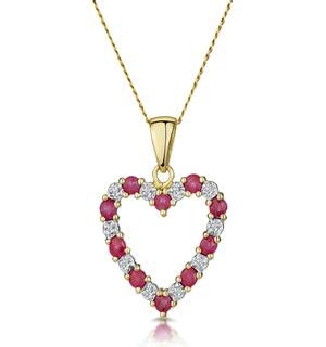 Ruby 0.68CT And Diamond 9K Yellow Gold Heart Pendant Necklace