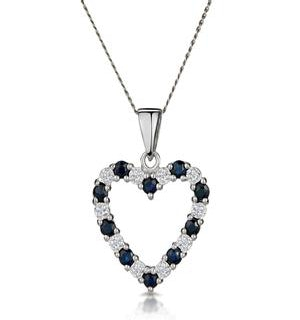 9K White Gold  0.03ct Diamond and Sapphire Heart Pendant Necklace