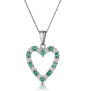 Emerald 0.54CT And Diamond 9K White Gold Heart Pendant Necklace