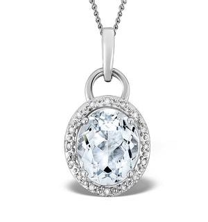 Aquamarine 2.69ct And Diamond 9K White Gold Pendant Necklace