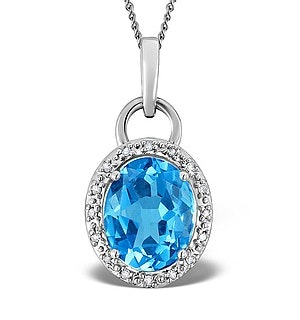 Blue Topaz 2.96CT And Diamond 9K White Gold Pendant Necklace