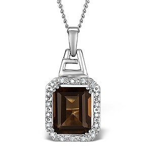 Smokey Quartz 3.56CT And Diamond 9K White Gold Pendant