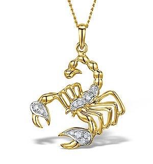 9K Gold Diamond Scorpio Pendant Necklace 0.06ct