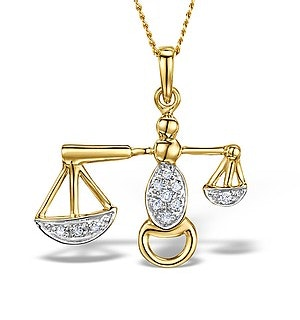 9K Gold Diamond Libra Pendant Necklace 0.06ct