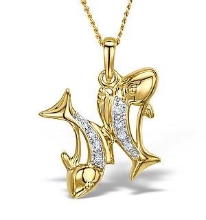 9K Gold Diamond Pisces Pendant Necklace 0.05ct