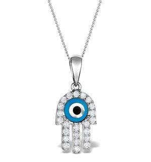 0.32ct Diamond and 9K White Gold 'Evil Eye' Hamsa Pendant Necklace