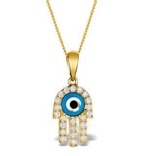 0.32ct Diamond and 9K Gold 'Evil Eye' Hamsa Pendant Necklace