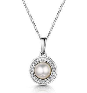 Pearl and Diamond Halo Stellato Pendant Necklace in 9K White Gold