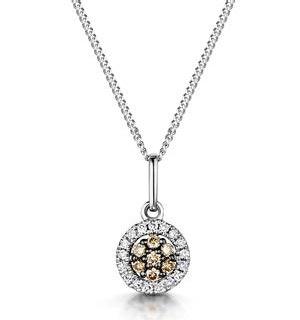 Stellato Champagne Diamond Halo Pendant 0.13ct in 9K White Gold