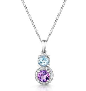 Amethyst Blue Topaz and Diamond Stellato Pendant in 9K White Gold