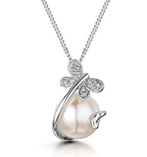 Button Pearl and Diamond Stellato Pendant Necklace in 9K White Gold