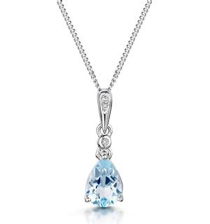 Stellato Collection Blue Topaz Diamond Necklace in 9K White Gold