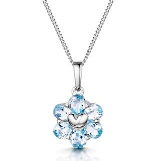 Stellato Collection Blue Topaz Pendant in 9K White Gold