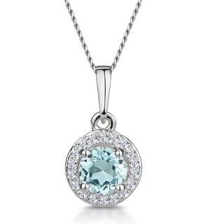 0.38ct Aquamarine and Diamond Stellato Necklace in 9K White Gold