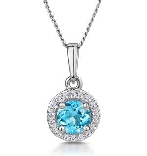 0.37ct Swiss Blue Topaz and Diamond Stellato Necklace in White Gold