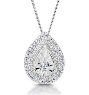 Masami Diamond Pear Halo Necklace 0.10ct Pave Set in 9K White Gold