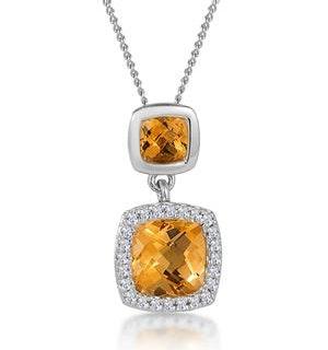 1.12ct Citrine and Diamond Halo Stellato Necklace in 9K White Gold